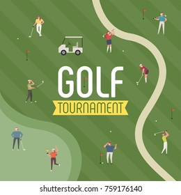 golf ground sports poster concept golfer character  vector illustration flat design