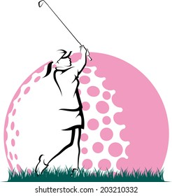 Golf hitting a golf ball out of the rough with pink stylized golf ball behind.