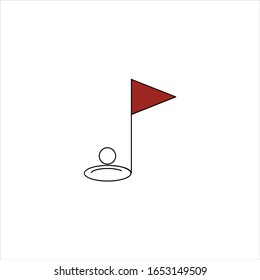 golf hole and golf ball icon illustration