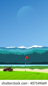 Golf hole with golf cart on vertical mountain background landscape