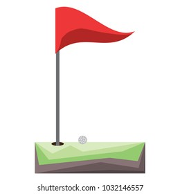 Golf hole and flag icon