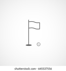 Golf Hole And Flag Line Icon On White Background
