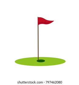 Golf hole icon on the white background. Vector illustration.