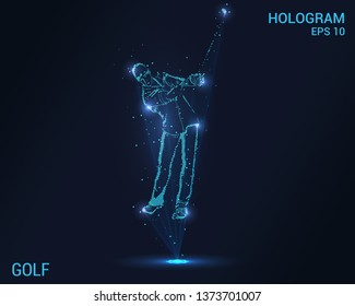 Golf hologram. A holographic projection of the golfer. Flickering energy flux of particles. The scientific design of the sport