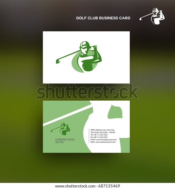 Golf icon business card, information, contact details, outdoor sports, rich, royal, vector illustation