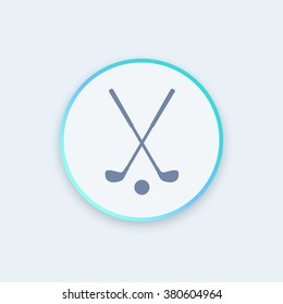 golf icon, crossed golf clubs and ball round stylish icon, vector illustration