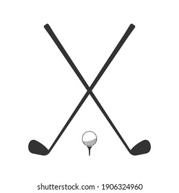 Golf icon. Crossed golf clubs or sticks with ball on tee. Vector illustration.