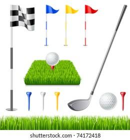 Golf icon set. Golf club, golf flag, golf ball and green glass