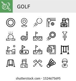 golf icon set. Collection of Billiard, Puck, Golf, Golf ball, Golfer, stick, Birdie, Tee, Swing, Athlete, Shuttlecock, player icons
