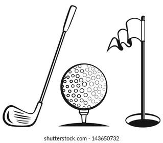 Golf icon set. Golf flag, golf ball and golf stick
