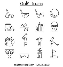Golf icon set in thin line style