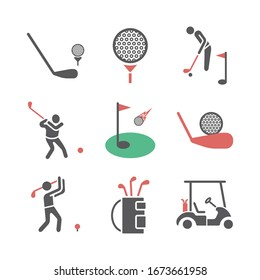 Golf icons. Player. Vector signs for web graphics.