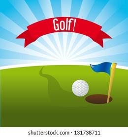 golf illustration over landscape background. vector illustration
