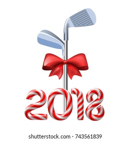 Golf irons tied with a red bow with candy cane numbers of 2018 new year holiday. Vector isolated illustration on white background