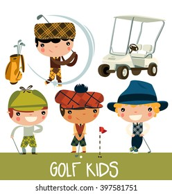 golf kids. cute cartoon golf players. vector character set.