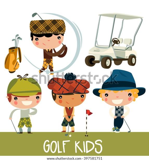 golf-kids-cute-cartoon-players-600w-3975