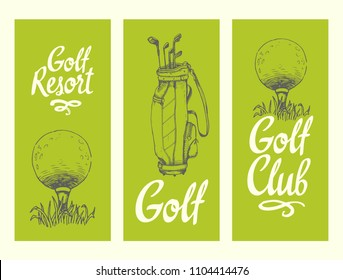 Golf layout banners with ball, backet, bag. Vector set of hand-drawn sports equipment. Illustration in sketch style on white background. Brush calligraphy elements for your design.