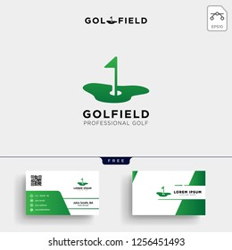 golf location or Map logo template vector illustration and business card design