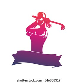 golf logo, emblem template with girl swinging club isolated over white