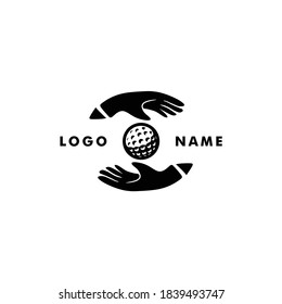 Golf logo icon with golfball in the middle hand silhouette vector. Illustrate friendly and happy coach & player training activity. For golf group & club sport and fun hobby
