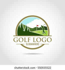 Golf Logo Template. Lanscape Design. Vector Illustrator Eps.10