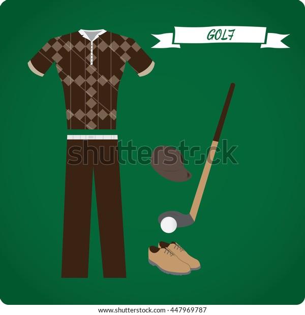 Golf objects, Sport uniform, Vector illustration