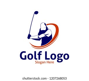 golf outdoor sport vector logo design inspiration, a player hits the ball with a swing stick for brand and presentation visual