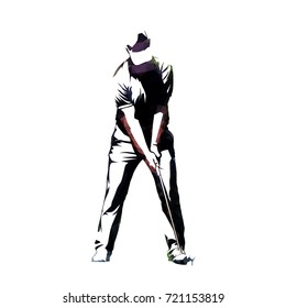 Golf player, abstract geometric vector silhouette