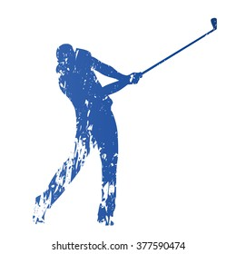 Golf player, abstract grungy vector silhouette
