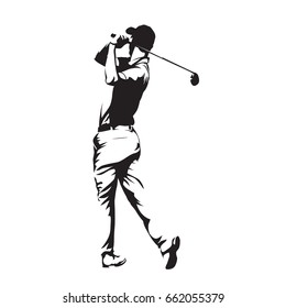 Golf player, abstract vector silhouette