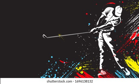 Golf player. Golf cap. Abstract isolated vector silhouette. Iink drawing golf player.