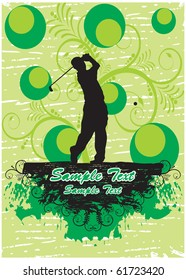 Golf player in green floral background (part of full set)