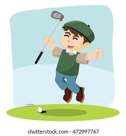 golf player happy illustration design
