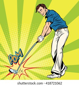 Golf player has a stick in the ball