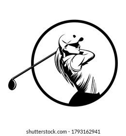 golf player icon logo illustration vector