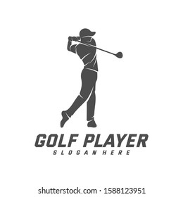 Golf Player logo design vector template, Vector label of golf, Logo of golf championship, illustration, Creative icon, design concept