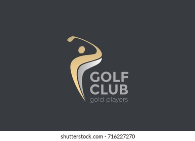 Golf player Logo design vector template. Elite Luxury Gold Golf club Logotype concept icon.