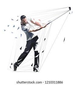 Golf player, low polygonal golfer, isolated vector illustration. Golf swing