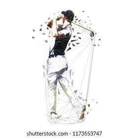 Golf player, low polygonal vector illustration. Isolated geometric golfer. Golf swing