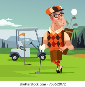 Golf player man character. Vector cartoon illustration