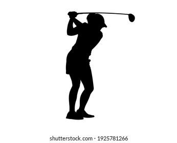 golf player silhouette high vector