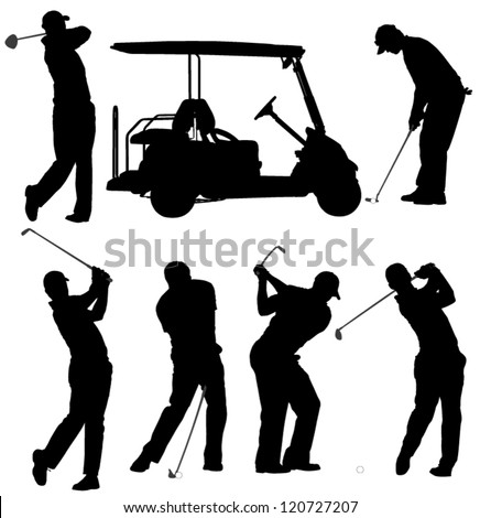Golf Player Silhouette On White Background Stock Vector Royalty