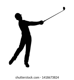 Golf player silhouette vector on white