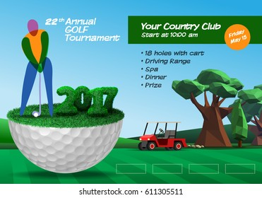 Golf player standing on golf ball. Golf course background. Horizontal brochure template vector illustration clipart