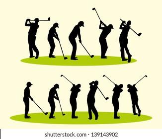 golf player vector art