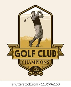 Golf player with vintage style