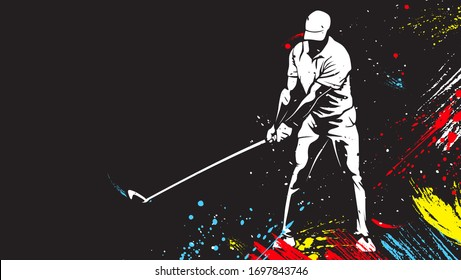Golf player wearing golf cap. Abstract isolated vector silhouette. Golf player drawing.