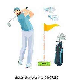Golf player wearing light shirt hits ball on golf course. Golf equipment accessories set logo icons sports gear for game golfer, bags, putter, golfer, gloves flat vector illustration