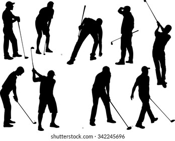 golf players 2 vector silhouette