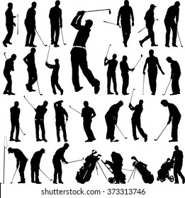 Golf players and equipment big collection - vector